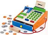 Top Race Caja registradora de juguete de madera de 30 piezas