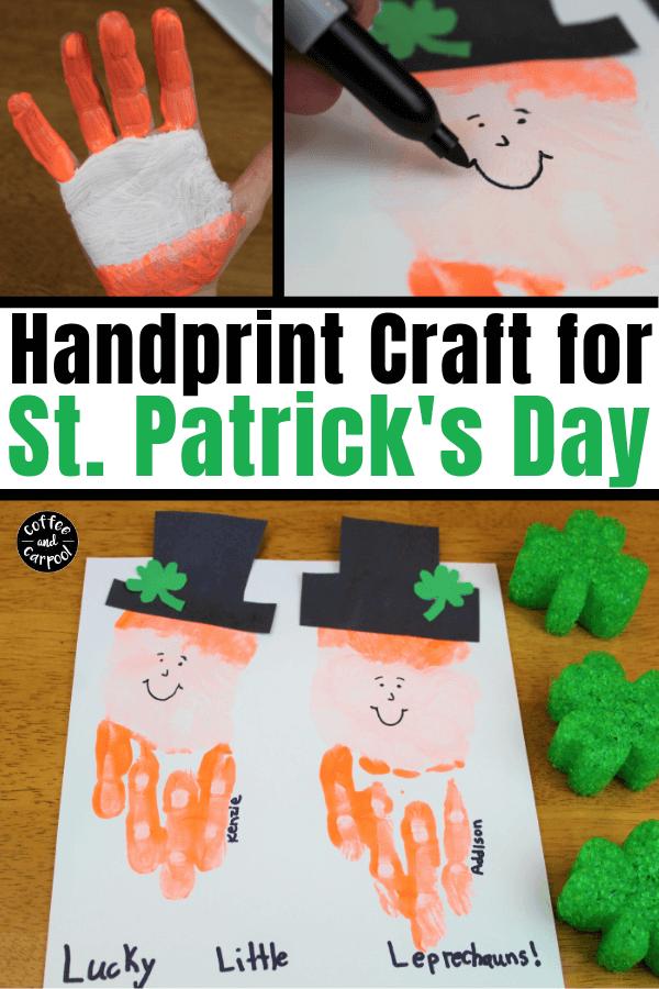 Esta artesanía de huellas de duende es la artesanía perfecta del Día de San Patricio para los niños, ya que mide su pequeña mano pequeña. #stpatricksday #stpatricksdaycrafts #leprechaun #handprintcraft #handrpintart #coffeeandcarpool