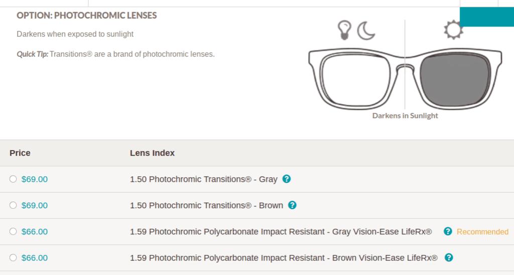 Opciones de lentes fotocromáticas