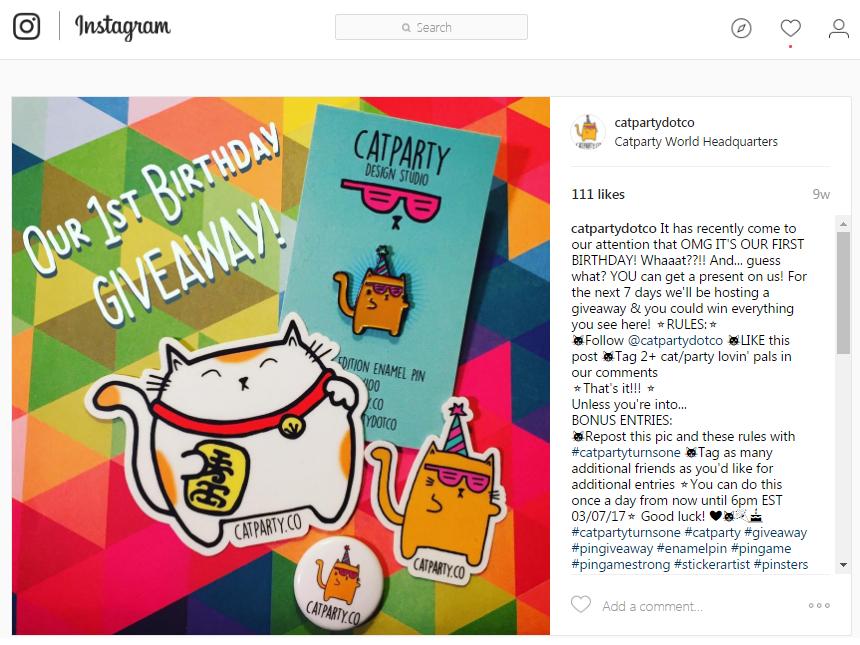 Publicaciones del concurso CATPARTY de sorteos de Instagram