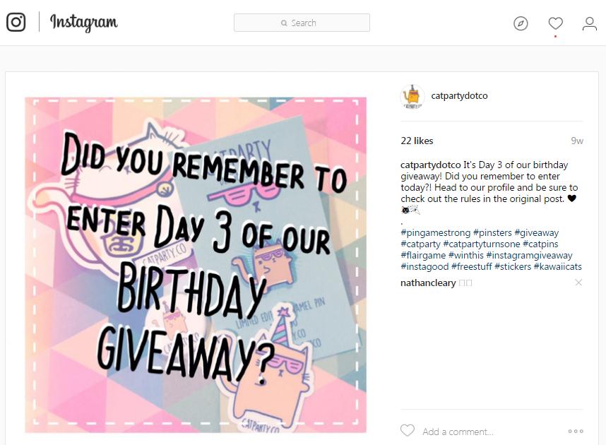 Publicación de recordatorio de regalos de Instagram