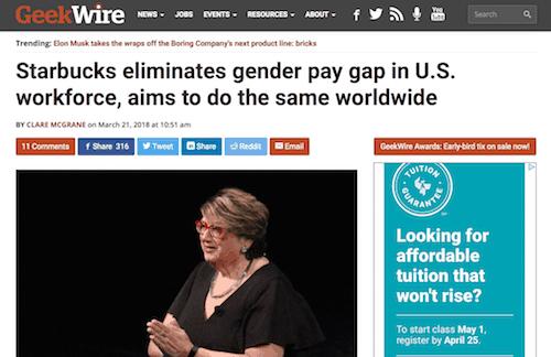 Starbucks elimina la brecha salarial de género en la fuerza laboral de los EE. UU. Y pretende hacer lo mismo en todo el mundo