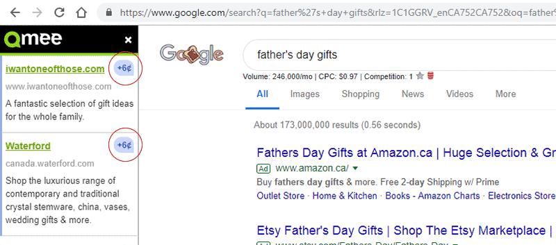 Resultados de búsqueda de Qmee con dos anuncios pagados de seis centavos
