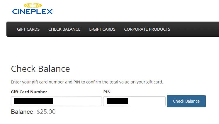 Prueba de saldo Cineplex que muestra $ 25 en tarjeta de regalo