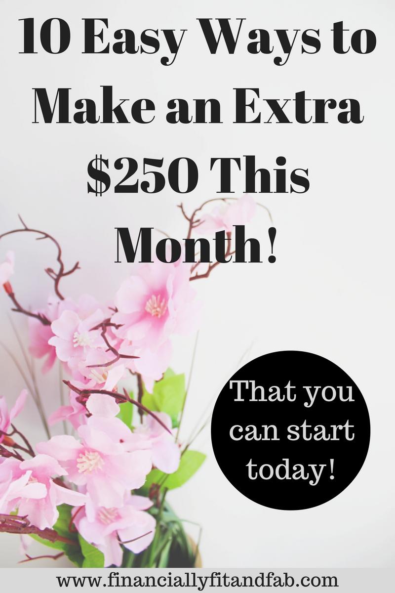 ¡10 maneras fáciles de ganar $ 250 adicionales este mes! El | Ganar dinero | Trabajar en casa | Empuje lateral | Ingresos extra