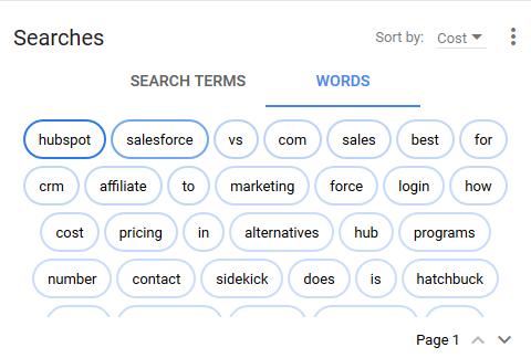 nueva experiencia de AdWords informes de nube de palabras