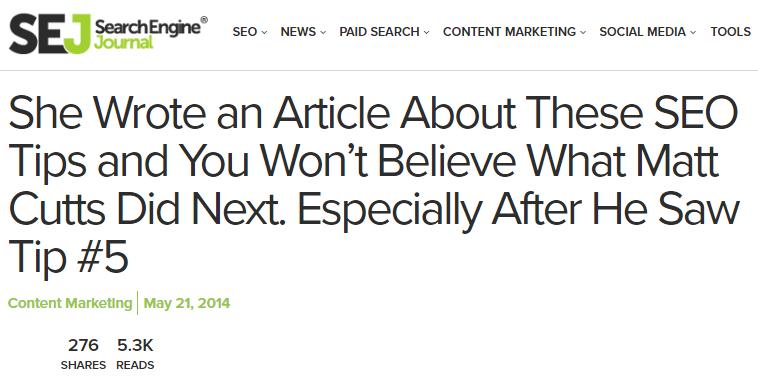 Brecha de curiosidad Ejemplo de artículo de clickbait de Search Engine Journal