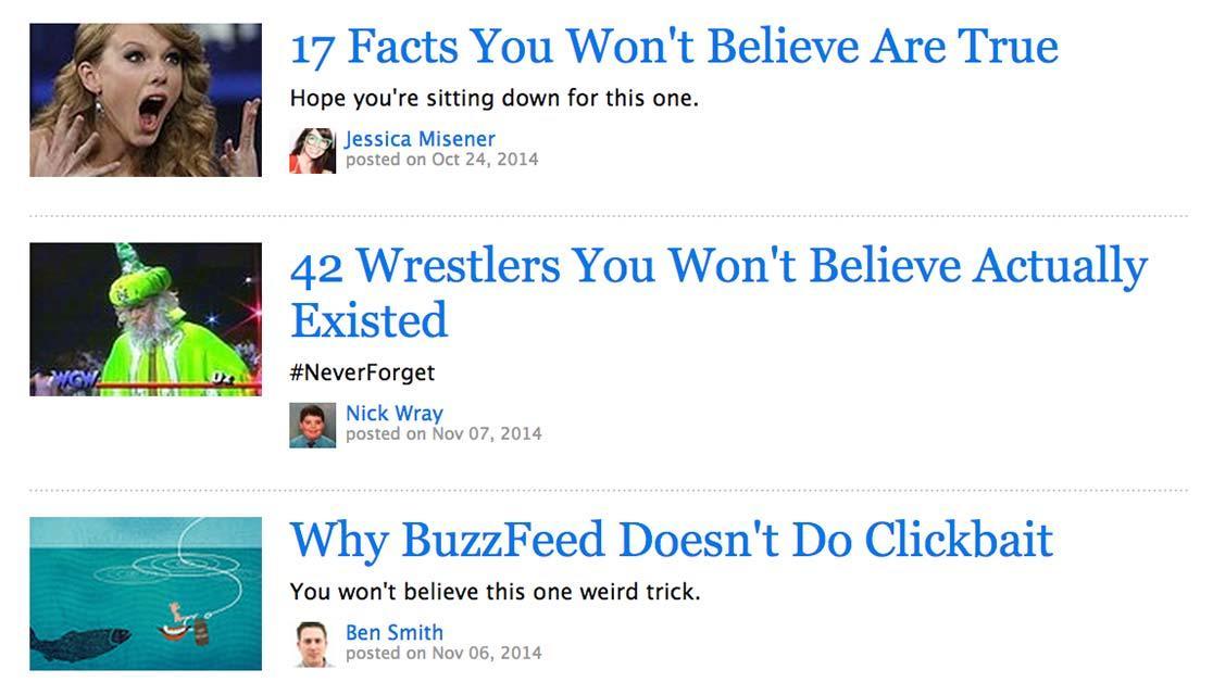 Curiosidad brecha ejemplos de titulares de clickbait BuzzFeed
