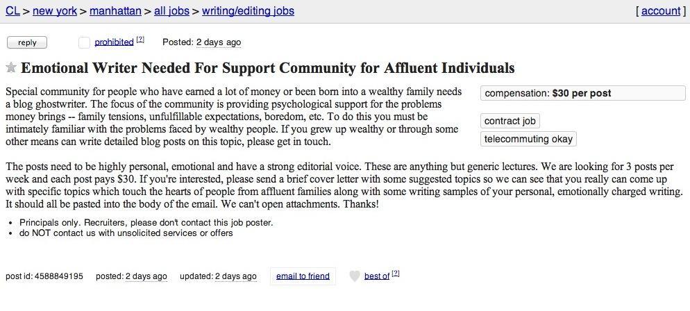 Anuncio de trabajo de redacción independiente de Craigslist terrible