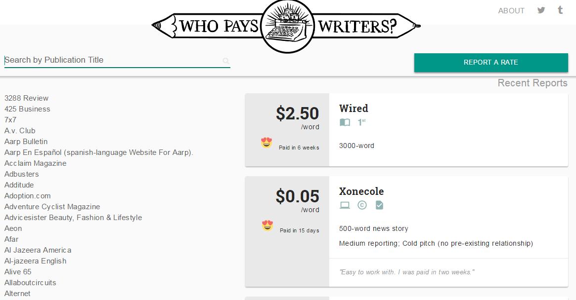 Trabajo de escritura independiente Captura de pantalla de Who Pays Writers