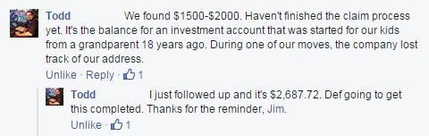 Todd encontró MUCHO dinero perdido.