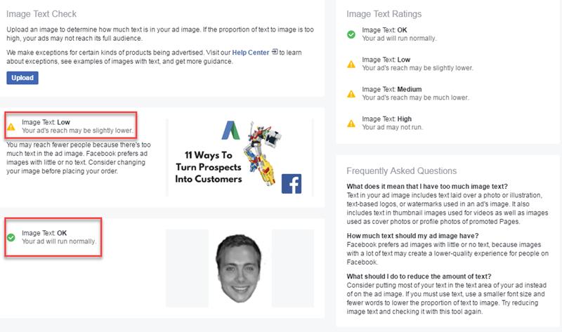función de verificación de texto de imagen creativa de Facebook