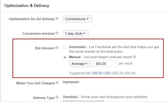 Cómo competir en el cuadro de diálogo Monto de oferta de anuncios de Facebook