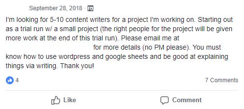 Estoy buscando de 5 a 10 escritores de contenido para un proyecto en el que estoy trabajando. Comenzando como una ejecución de prueba con un proyecto pequeño (las personas adecuadas para el proyecto tendrán más trabajo al final de esta ejecución de prueba). Por favor envíeme un correo electrónico a _ para más detalles. Debe saber cómo usar las hojas de wordpress y google y ser bueno para explicar las cosas por escrito. ¡Gracias!
