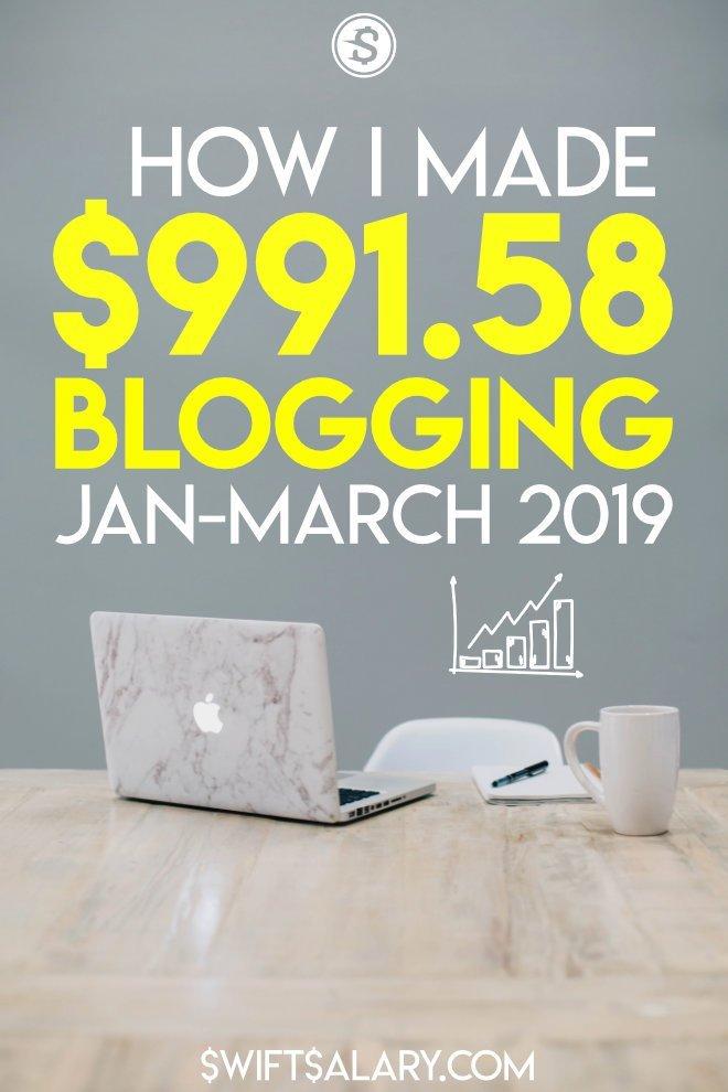 Cómo hice dinero blogueando en el primer trimestre de 2019