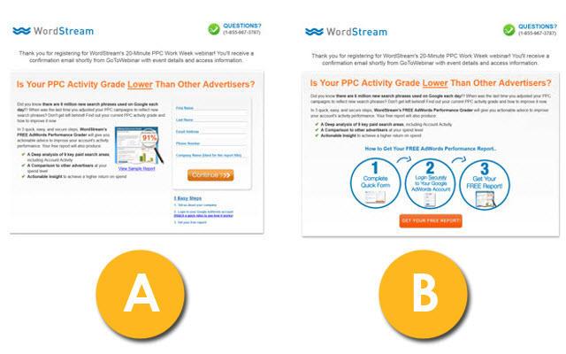Sorteos de Instagram WordStream web form AB ejemplo de prueba