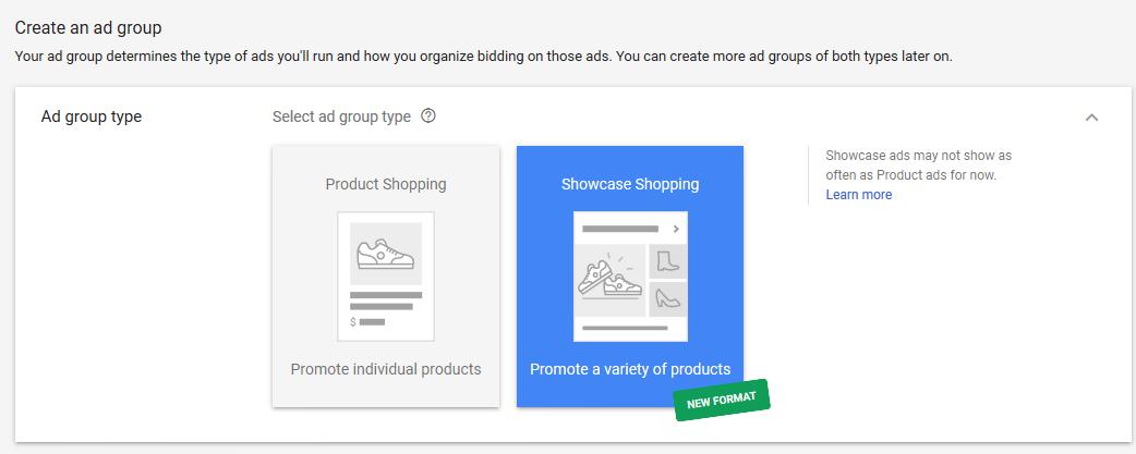 mostrar el formato de anuncio de compras en adwords