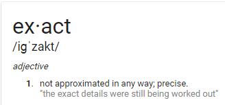 definición de la palabra exacta de acuerdo con la búsqueda de google