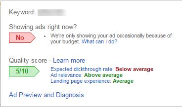 burbuja de estado del nivel de calidad de Google AdWords i