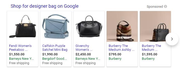 Cerrar variantes de la bolsa de diseñador Resultados de Google Shopping