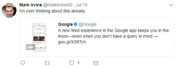 Mark Irvine reacciona al feed de Google