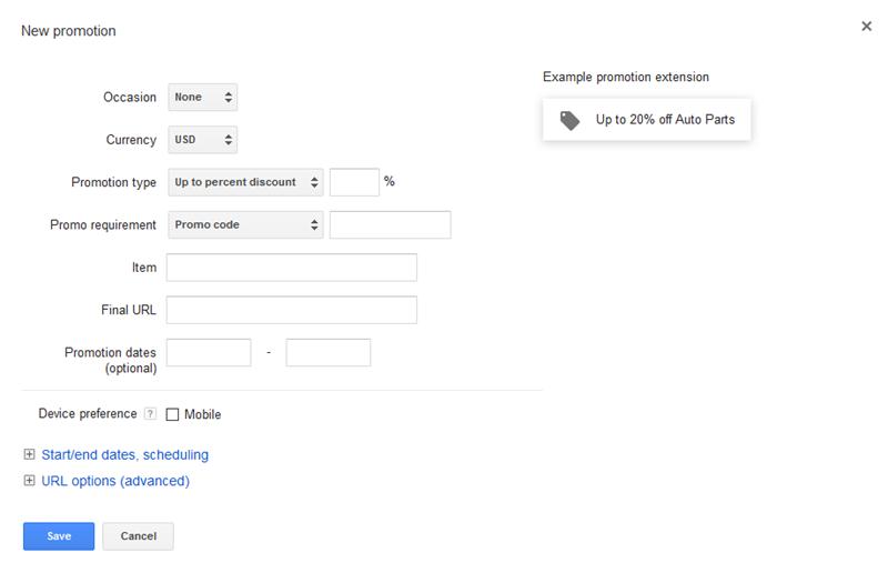 configuración de la extensión de promoción de AdWords