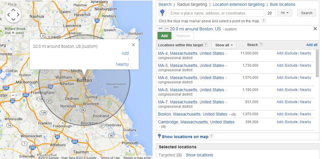 La publicidad en línea cuesta opciones de orientación geográfica de AdWords radio físico