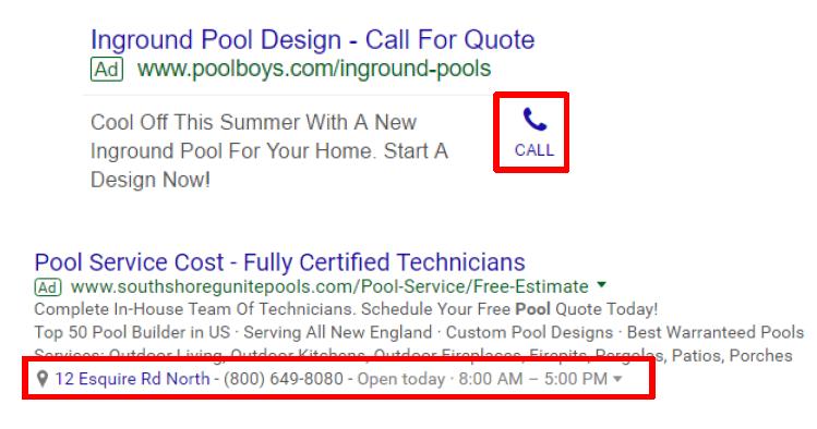 extensiones de llamada y ubicación