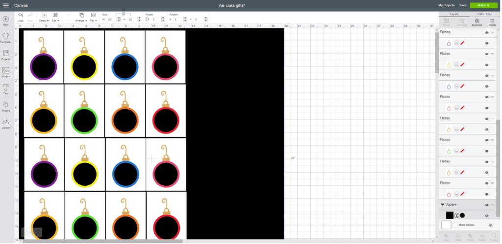 Estas son las 16 cartas del tamaño adecuado, con un fondo negro para mostrarlas mejor.