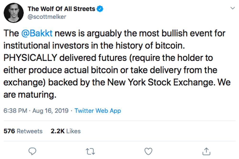 Precio de Bitcoin después del lanzamiento de la compañía Bakkt