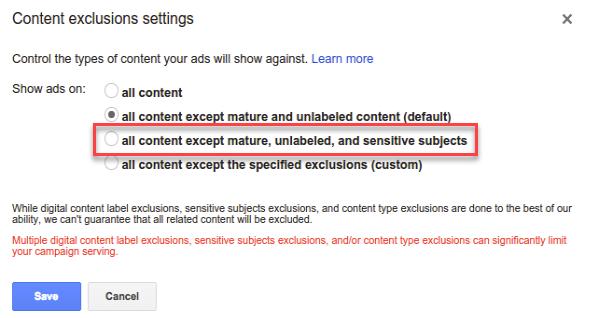 exclusiones de contenido de anuncios de youtube