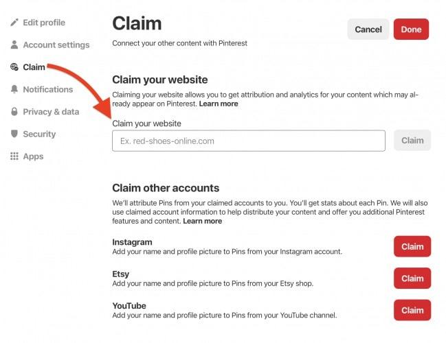 Cómo reclamar su sitio web en una cuenta comercial de Pinterest