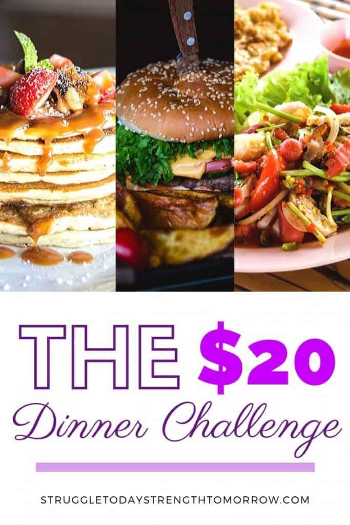 El desafío de la cena de $ 20. ¿Has visto ese meme pidiéndote que se te ocurra una idea para la cena que alimente 6 con $ 20? Las familias más grandes saben que este es un desafío fácil y loco, pero a muchas personas les cuesta mantenerse dentro de las pautas de este presupuesto. ¡Haga clic para ver algunas ideas increíbles para la cena completa que pueden superar este desafío y devolver el dinero a su billetera! #frugaldinners #frugalmeals #budgetdinner #cheapfood #moneychallenge #budget #frugalliving