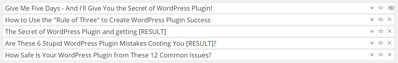 Ejemplos de títulos de WP Blog Rocket