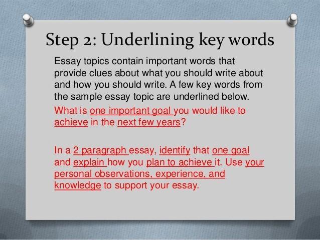 sugerencia de redacción subrayando ejemplo de palabras clave