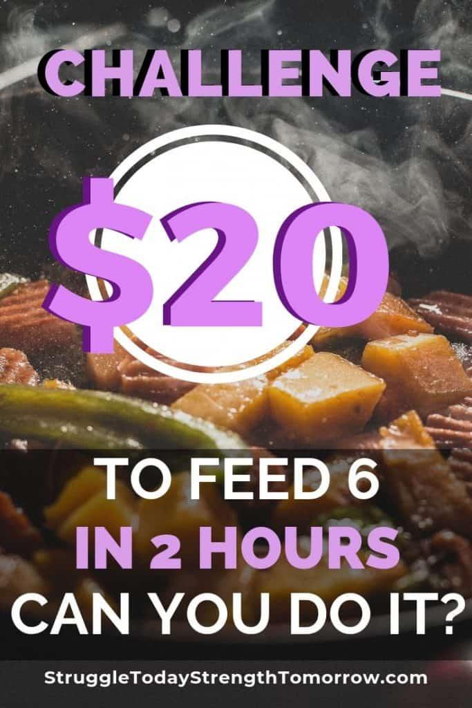 DESAFÍO tienes $ 20 y 2 horas para alimentar a un grupo de 6. ¿Puedes hacerlo? ¿Sabías que muchas personas no pueden? Es una locura, pero las familias más grandes pueden hacer este desafío mientras duermen. Echa un vistazo a estas increíbles ideas de comidas para ver cómo puedes hacer que suceda. #frugaldinner #cheapdinner #frugalmeals #budget #moneychallenge