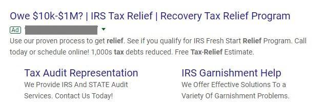 Anuncio de búsqueda de Google para desgravación fiscal