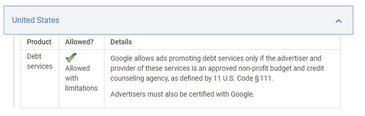 Política de Google para EE. UU.
