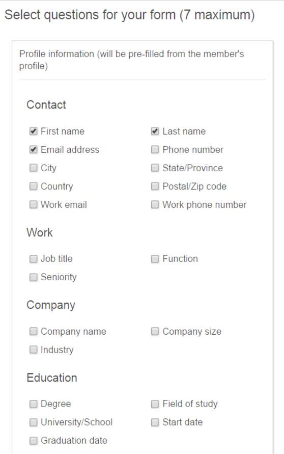 preguntas del formulario de generación de leads de linkedin que los anunciantes pueden hacer