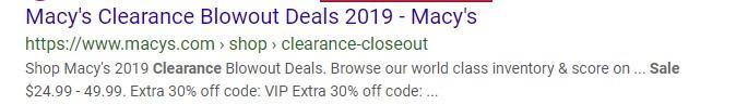 Anuncio PPC de Macy's con descuento de comercio electrónico