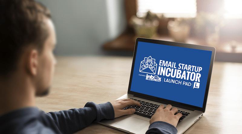 Incubadora de inicio de correo electrónico y banner de revisión de planos de bandeja de entrada