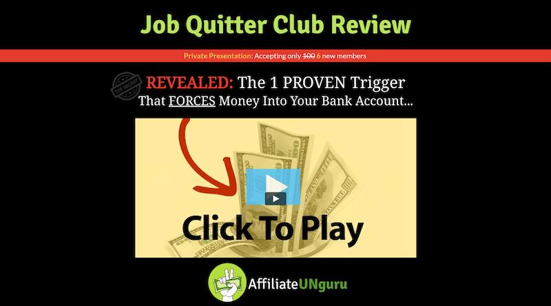 Banner de revisión de Job Quitter Club