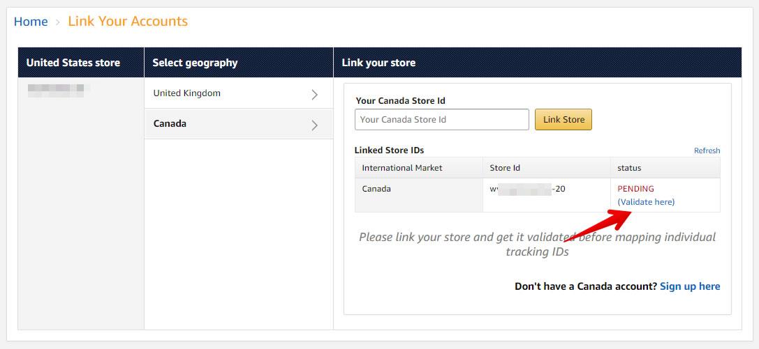 Validar cuentas de enlace de Amazon OneLink