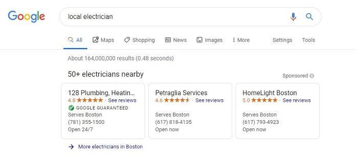 Anuncio de servicio local de Google