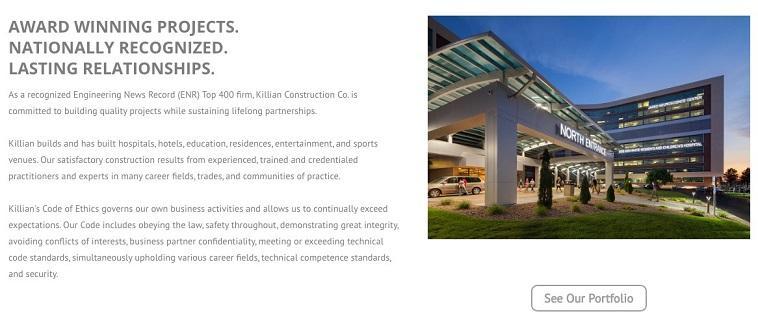 ejemplo de sitio web de marketing de construcción con cartera