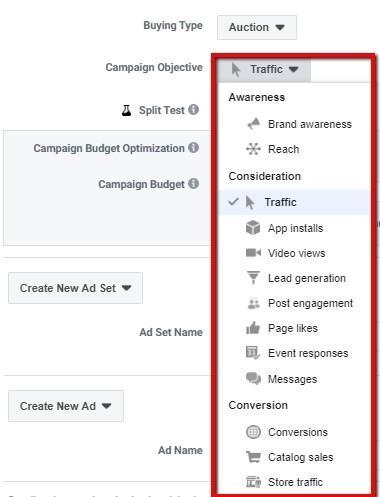 Opciones de tipo de compra en Facebook