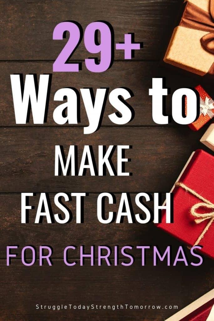 Más de 29 formas de ganar dinero rápido para Navidad. ¿Necesitas dinero para las vacaciones? ¡Echa un vistazo a estas increíbles ideas de ajetreo lateral que pueden hacerte ganar dinero rápidamente! #makemoney #extramoney #sidehustle #jobs #fastcash #holidaycash #christmasmoney #frugalliving
