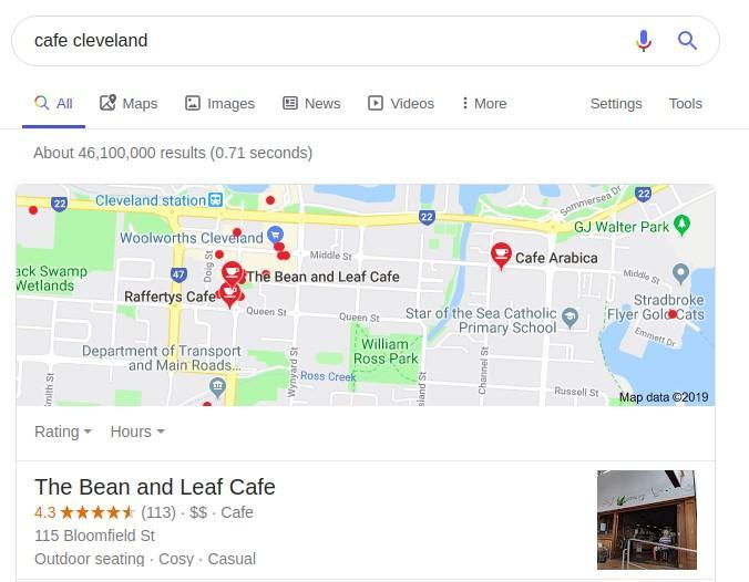 ejemplo local SERP cafe