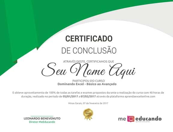 certificado incluido