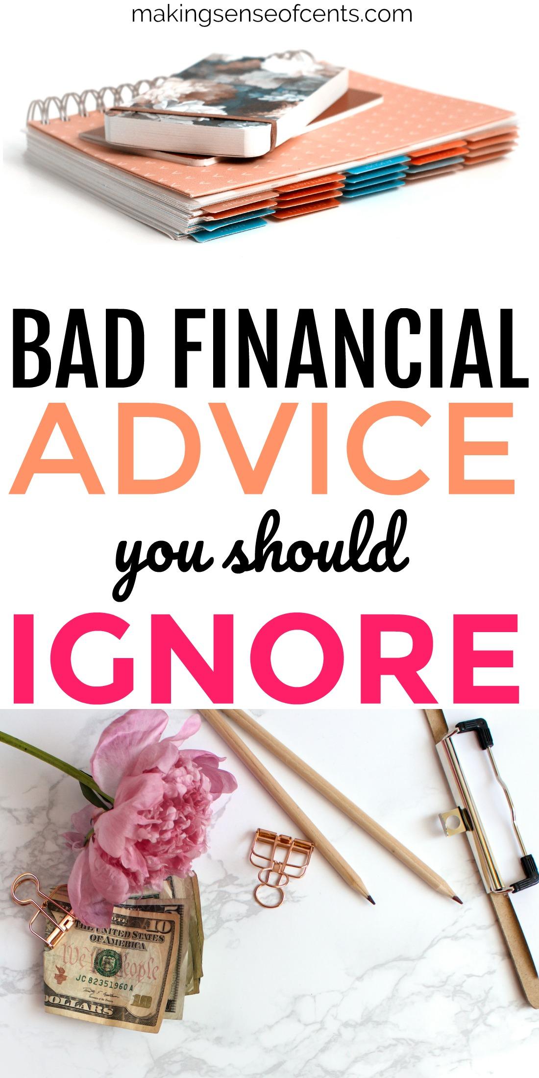 Consulte esta lista de malos consejos financieros que debe ignorar. #financiamiento personal # presupuesto # dinero
